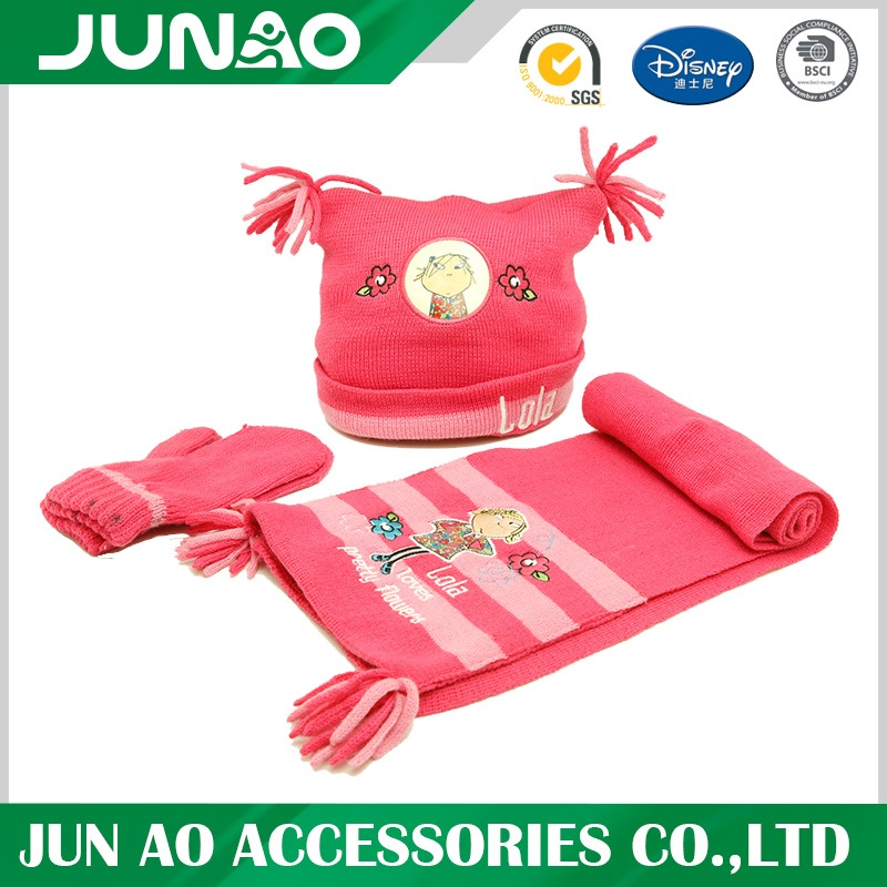 Winter kids scarf hat gloves combo