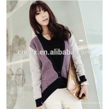 modèles de chandail en laine de couleur contrastée pour les dames