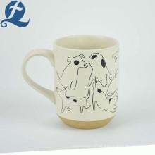 Los perros de encargo al por mayor imprimieron las tazas de cerámica baratas de las tazas de café