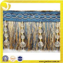 Nuevo diseño de la venta al por mayor de cortina hecha a mano frágil borla franja