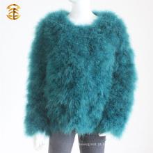Atacado Elegance Real Turkey Feather Fur Jacket Coats For Women