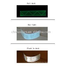 Cinta reflectante de PVC de alta visibilidad con brillo en la oscuridad