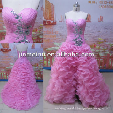 Real sample beautiful pink sweetheart organza short front long back tiered prom dress JPD111