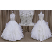 M806 alta qualidade Strapless Beade plissado vestido de noiva de organza 2016