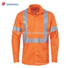 Camisas reflectantes de Hi Viz Safety Taladro completo de algodón naranja 3M Tapas traseras cruzadas de cinta Vents Workwear