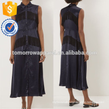New Fashion Navy Sleeveless Midi Dress With Fringing Manufacture Wholesale Fashion Women Apparel (TA5244D)