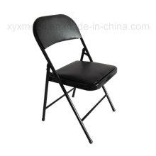 Cadeira de dobramento de couro em tecido metálico