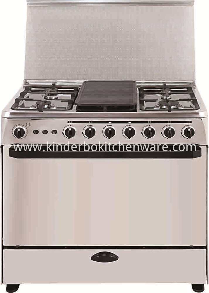 Free standing home user electric oven with hot plate and 4 burner gas stove