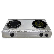 Double Burner Gas Stove with Timer & Infrared & Whirlwind Cap