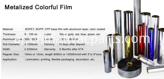 Metallized colorful film