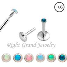 16 Gauge Internally Threaded Opal Cheap Lip Rings
