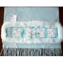 Cashmere Shawl with Rex Rabbit and White fox Trim (HM-YZ-SCF09008)