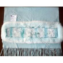 Кашемировый платок с Рекс кролика и белый Fox отделки (в Hm-yz-в SCF09008)