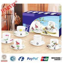 200cc round split decal Ceramic porcelain Tea Cup&Saucer