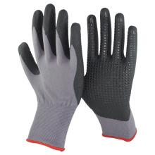 NMSAFETY nitrilo micro espuma preta pontilhada na palma da mão luva protetora de segurança