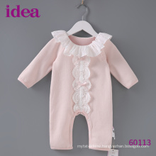 60113 100%Cotton Baby Romper For Girls Lace