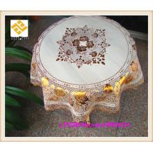 Usine ronde de tissu de table de PVC d'or rond fait main