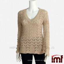 Senhoras Cashmere Metálico Knitted Sweater
