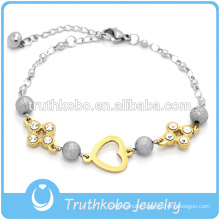 New Design Stainless Steel Women's Bracelet Jewelry With Heart Charm And Crystal
