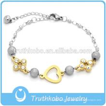 Jóia do bracelete das mulheres de aço inoxidável do projeto novo com encanto e cristal do coração