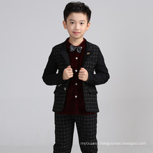High quality 2color 4pcs set tie+vest+pants+shirt baby boys winter wedding suit for children boys