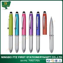 Caneta esferográfica com caneta cromada UV com luz