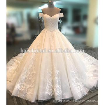Heavy beaded shoulder women wedding dress 2017 DY020