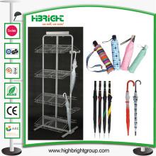 Rack de prateleira de carrinho de exposição de guarda-chuva de metal