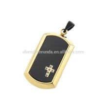 Pendentif plaqué or en argent noir et pendentif en verre noir 2016