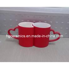 Tasse rouge de changement de couleur d'amour, tasse d'amant