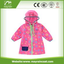 Girls Waterproof Pink PVC Rainsuit With Logo