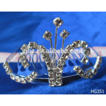Big pageant tiara crown big pageant new design wholesale queen tiara silver plated crown tiara