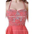 Senhoras Nupcial Curto Vermelho Frisado Partido Desgaste Halter Backless Vestido De Noiva Noite