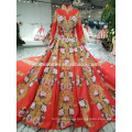 2018 new design Chinese style wedding dress factory supply front short long back embroidered luxury red color wedding dress