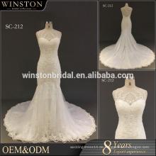 2016 Heißes reizvolles weißes Sequin-Spitze-Applique-Nixe-Hochzeits-Kleid