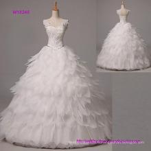 Robe de bal robe de mariée longue au sol longueur sangles organza avec perles