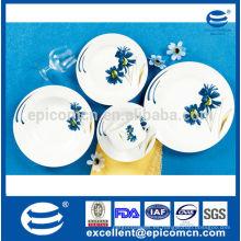 Vajilla y vajilla del hotel vajilla de porcelana con flor azul