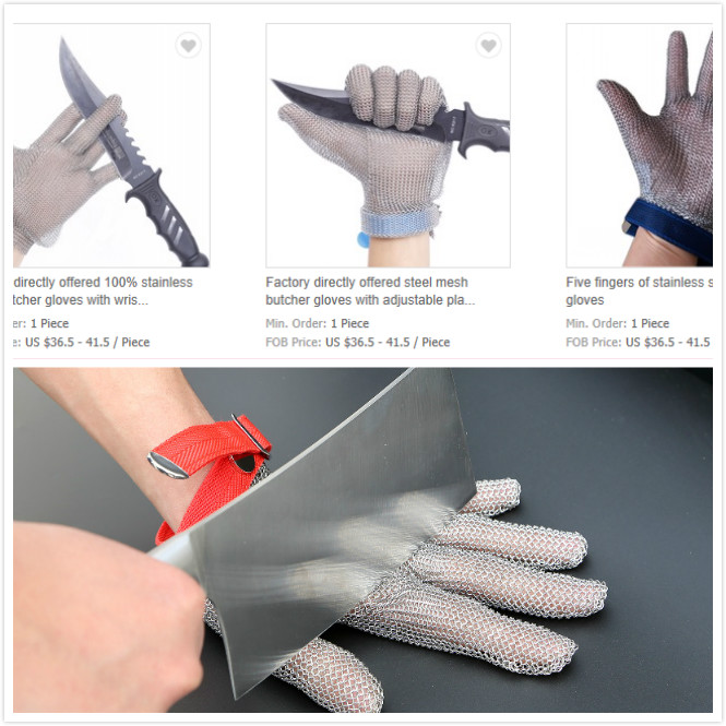 Cut Resistant Stainless Steel Mesh Glove Food Grade Eva Strap