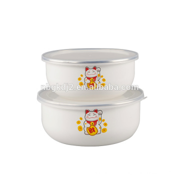 China style 2 pcs enamel ice bowl with plastic cover lucky cat