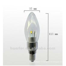 3W SMD angle de faisceau à 360 degrés LED lumière de bougie / éclairage