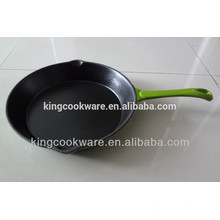 2016 hot sale color enamel coating cast iron fry pan/skillet