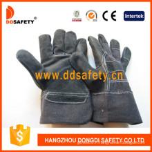 Gants de sécurité en cuir fendu de vache noire -Dlc408