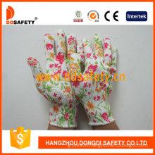 13 Guage Flower Design Seamless Knitted Work Gloves (DKP420)