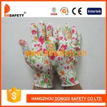 13 Guage Flower Design Guantes de trabajo de punto sin costuras Dkp420