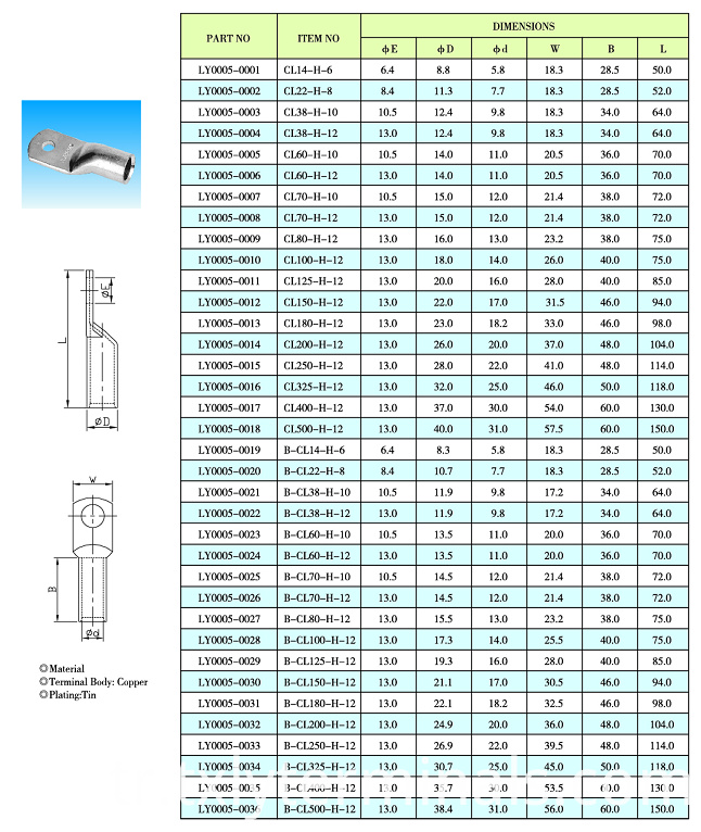 CL-H COPPER TUBE TERMINALS