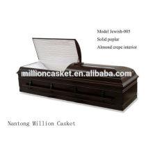 Judeu-005 personalizado poplar sólidos cremação caixão judaica privada planos