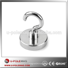 Top Quality D32mm N35 Neodymium Magnetic Hook 40 pound