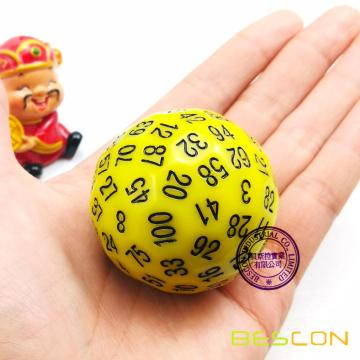 Bescon Polyhedral Dice 100 Cides Dice, D100 mort, 100 Cided Cube, D100 Game Dice, 100-Cided Cube of Yellow Color