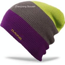 Personalizado 100% acrílico inverno malha Couro Beanie esqui Jacquard Flap Beanie