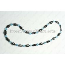 Collier en perles de verre bleu Hematite Magnétique